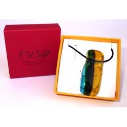 Esclusivo Ciondolo collana in vetrofuso verde prato-giallo / bigiotteria realizzata in Italia