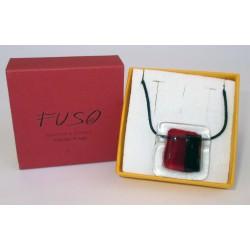 Esclusivo Ciondolo collana in vetrofuso rosso-nero / bigiotteria realizzata in Italia
