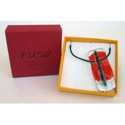 Esclusivo Ciondolo collana in vetrofuso arancio-trasparente / bigiotteria realizzata in Italia