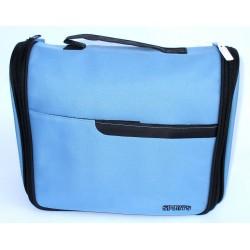 Beauty Case Sports celeste, da viaggio con tasche interne e tasca esterna. Chiusura con zip