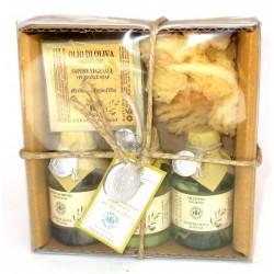 Erbario Toscano - Sapone vegetale Olio di Oliva 80 g + Bagno schiuma + Balsamo + Shampoo + Spugna - Idea Regalo