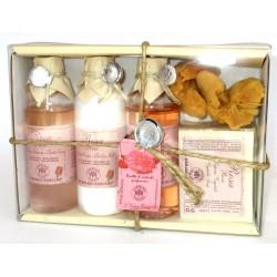 Erbario Toscano - Sapone vegetale Rosa 125 g + Bagno Schiuma + Latte Corpo + Shampoo + Spugna - Idea Regalo