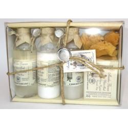 Erbario Toscano - Sapone vegetale Muschio Bianco 125 g + Bagno Schiuma + Latte Corpo + Shampoo + Spugna - Idea Regalo