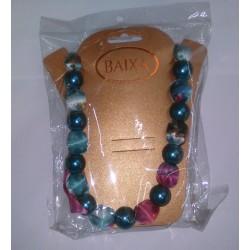 Baixa Women Collana Bigiotteria corta perle e stoffa vario colore