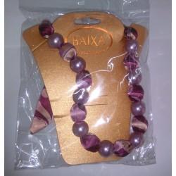 Baixa Women Collana Bigiotteria corta perle e stoffa colore fuxia