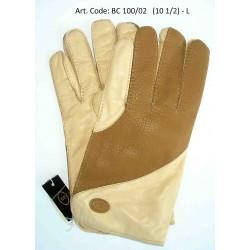 Esclusivi Guanti Uomo in 100% Cashmere Lined Bicolor Marrone-Crema Tg 10½