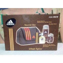 "Adidas Urban Spice for men Toiletry Bag "" E d T 100ml + Shower Gel 100ml + Deo 150ml """