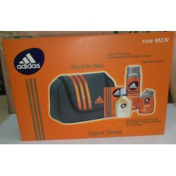 "Adidas Sport Fever da uomo Toiletry Bag "" EdT 100ml + Shower gel 100ml + Deo 150ml """
