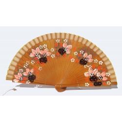 Ventaglio elegante in legno marrone e cotone con disegni fiorati. Adatto per matrimoni, ricevimenti, chiesa, eventi e non solo