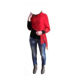 Foulard - Stola Viscosa colore Rosso porpora con Strass - Made in Italy - Enrico Corti