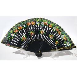 Ventaglio elegante in legno nero e cotone con disegni fiorati. Adatto per matrimoni, ricevimenti, chiesa, eventi e non solo