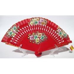 Ventaglio elegante in legno bordeaux e cotone con disegni fiorati. Adatto per matrimoni, ricevimenti, chiesa, eventi e non solo