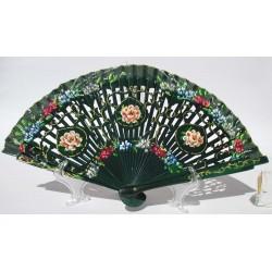 Ventaglio elegante in legno verde e cotone con disegni fiorati. Adatto per matrimoni, ricevimenti, chiesa, eventi e non solo