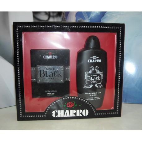 El Charro Parfums Black for man Eau de Parfum 50ml EDP + Gel douche Tonificant corpo e capelli 400ml - Confezione Regalo