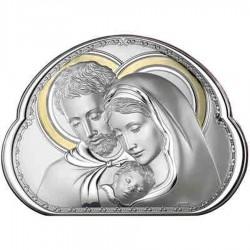 Quadro Capezzale Sacra Famiglia Valenti in Argento 925% con lamina in Oro 45x33 cm
