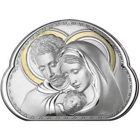 Quadro Capezzale Saca Famiglia Valenti in Argento 925% con lamina in Oro 45x33 cm
