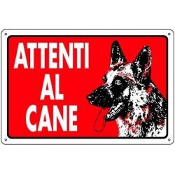 Cartello per esterno ATTENTI AL CANE - pastore tedesco - sfondo rosso