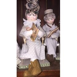 Coppia Bambola di pezza Nonno e Nonna (grandfather) in pezza - 32cm con sedia