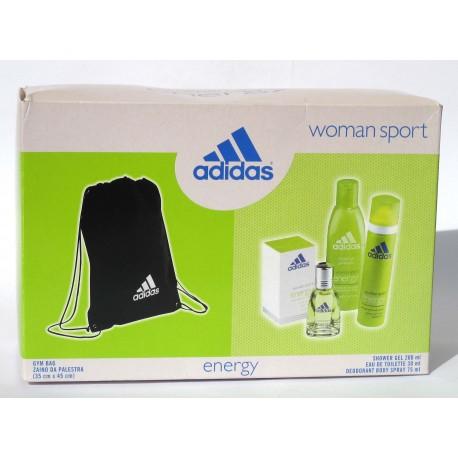 """Adidas """"Energy"""" Woman Sport - EDT 30ml + shower gel 200ml + deospray 75ml + Gym Bag"""