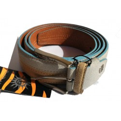 Cintura bicolore Renato Balestra 125cm Beige/Cielo - vera pelle - Made in Italy Alta Moda Belt n°56823