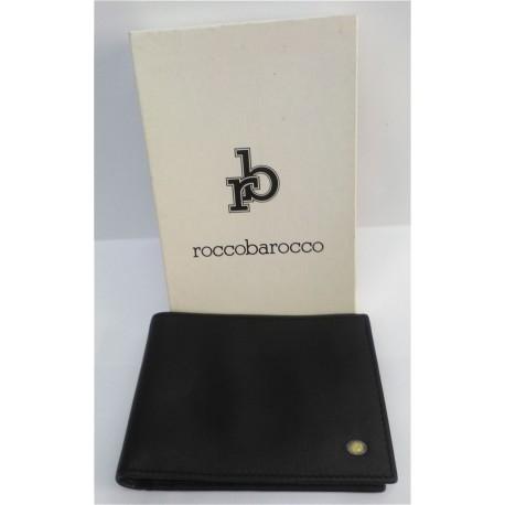 87756244e3 Portadocumenti/portafoglio Rocco Barocco uomo in pelle nera con ...