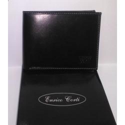 Portadocumenti Enrico Corti uomo in pelle nera / carte di credito