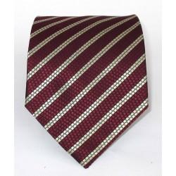 Cravatta uomo in seta rosso (red) e strisce oblique argento - Enrico Corti