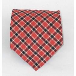 Cravatta uomo in seta rosso (red) fantasia scozzese (Bianco e navy) - Matisse