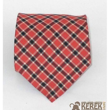 Cravatta uomo in seta rosso (red) e piccoli rombi blue - Enrico Corti