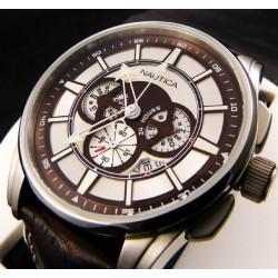 Orologio da polso Crono Nautica A21519G, mod. NCT 500, data, cinturino in pelle marrone