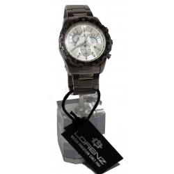 Orologio da polso Uomo Crono/Data LORENZ FS80 26450 in acciaio, quadr. bianco