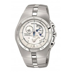 SEIKO Arctura Men's Kinetic Chronograph White Dial Steel Watch SNL001P1