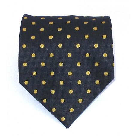 Cravatta uomo in seta blu navy a pois oro - EFFETTOSETA