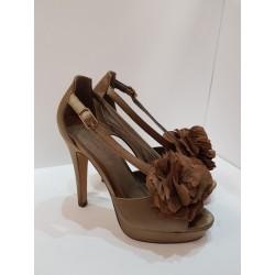 Scarpa elegante con il tacco Donna Paula Soler in raso color bronzo dentro in ecopelle