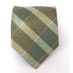 Cravatta uomo in seta verde prato a strisce oblique stessa tonalità - Jordan