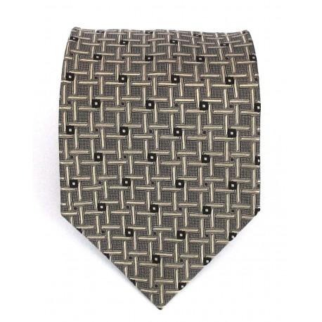 Cravatta uomo grigio verde con disegni geometrici in contrasto oro - EFFETTOSETA