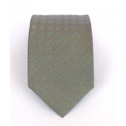 Cravatta uomo in seta grigio a pois rosso-arancio - Enrico Corti
