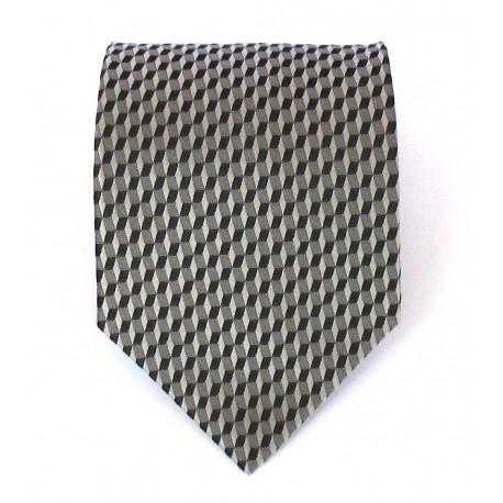Cravatta uomo in seta grigio chiaro-scuro con disegni geometrici - Biagiotti uomo