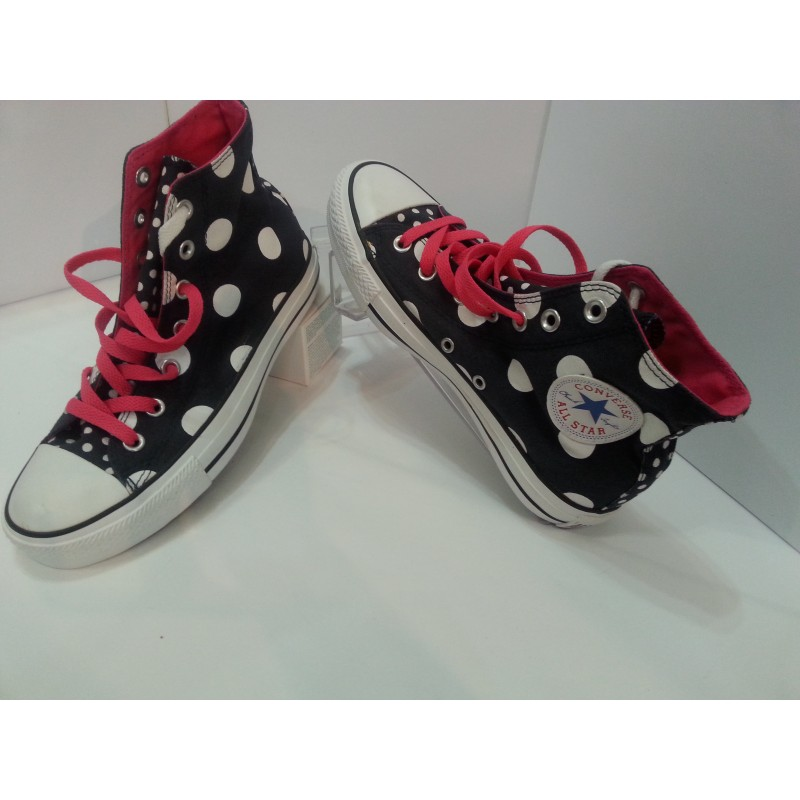 Scarpe Converse ALL STAR Blu navy a pois, lacci rossi Shoes Sneakers donna