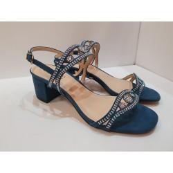 Armando Olivieri Sandalo elegante Donna in crosta blu con suola in gomma e antiscivolo
