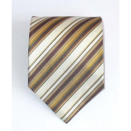 Cravatta uomo in seta giallo a strisce oblique bianco e marrone - Jordan