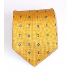 Cravatta uomo in seta giallo con disegni - Enrico Corti