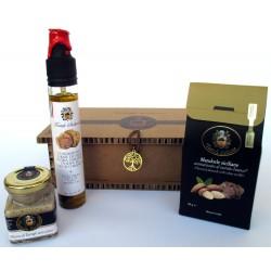 Mousse + Mandeln + Bio-EVO-Öl Schwarz-Weiß-Trüffel - Geschenkbox Lebensbaum Sizilien