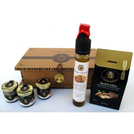 Gocce + Miele + Fichi + Mandorle Sicilia + Olio Tartufo nero bianco - Confezione Regalo albero della Vita