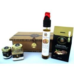 Mousse + Miel + Almendras orgánicas + Aceite EVO Negro / Trufa blanca Sicilia - Caja de regalo Árbol de la vida