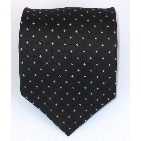 Cravatta uomo nero con disegni geometrici in contrasto bianco - EFFETTOSETA