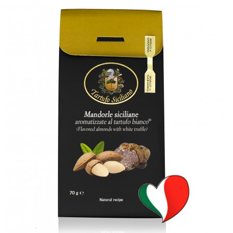 Sicilian almonds flavored with white truffles (Tuber Borchii Vitt.) 70g energy and taste
