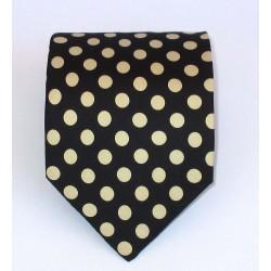 Cravatta uomo in seta nero a pois grandi colore panna - Fantasie di Como