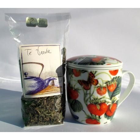 Tazza da tè con infusore, coperchio. Ceramica cinese decorata fragole, farfalle + foglie GUNPOWDER