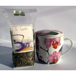 Tazza da tè con infusore, coperchio. Ceramica cinese decorata petali fucsia + foglie GUNPOWDER